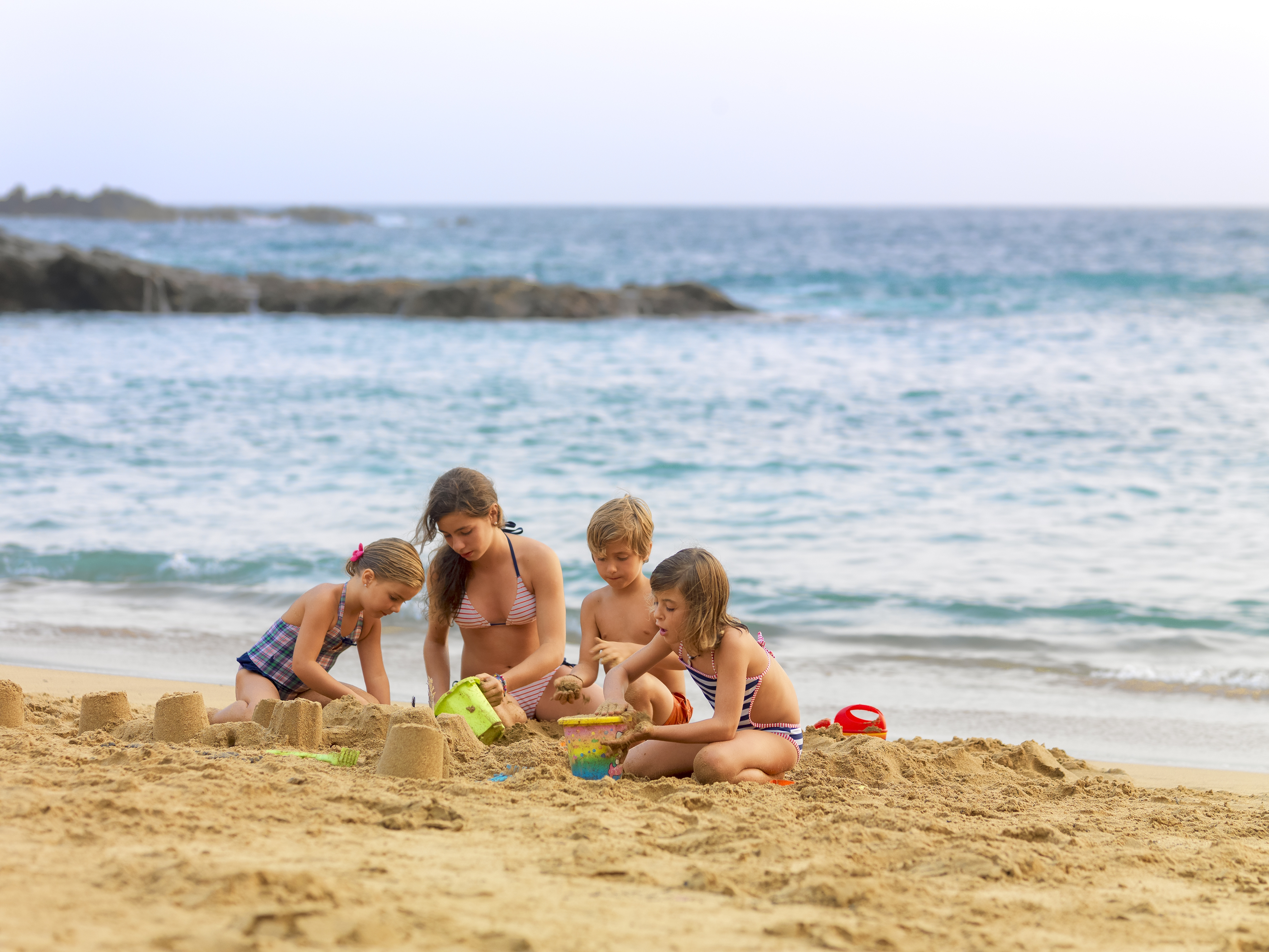 Kids on a family beach in Tenerife